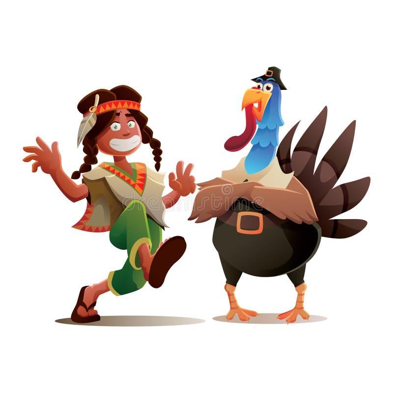 Ação de graças Turquia e projeto de caráter indiano do menino do tribo ilustração royalty free