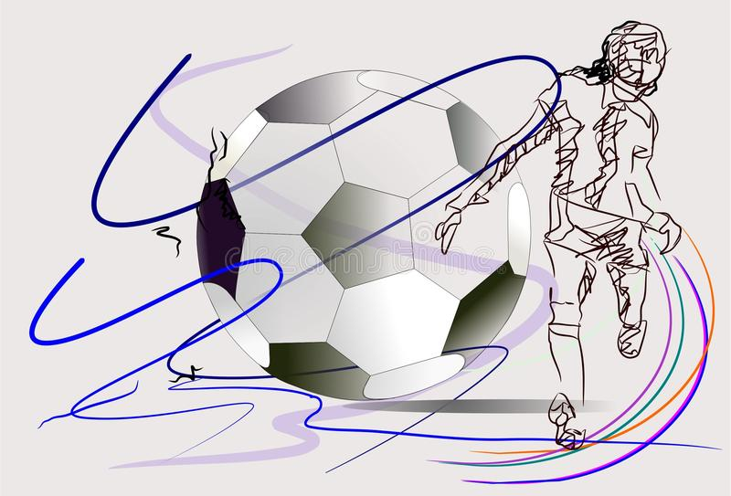 Ação do futebol ilustração royalty free