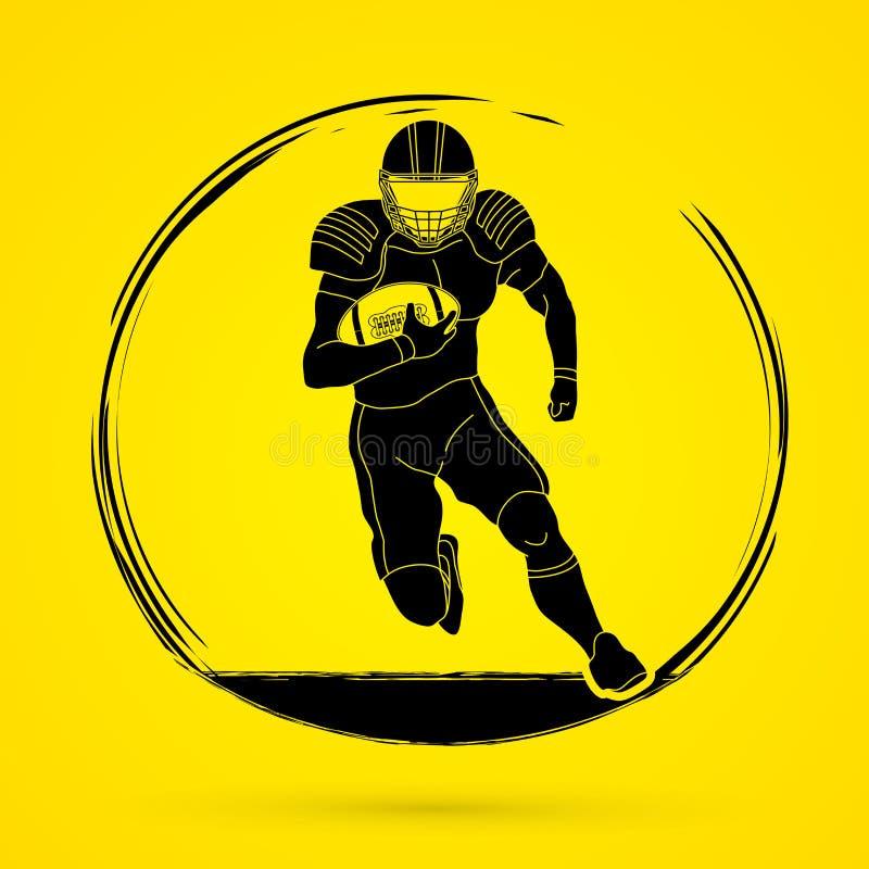 Ação do jogador de futebol americano, desportista ilustração royalty free