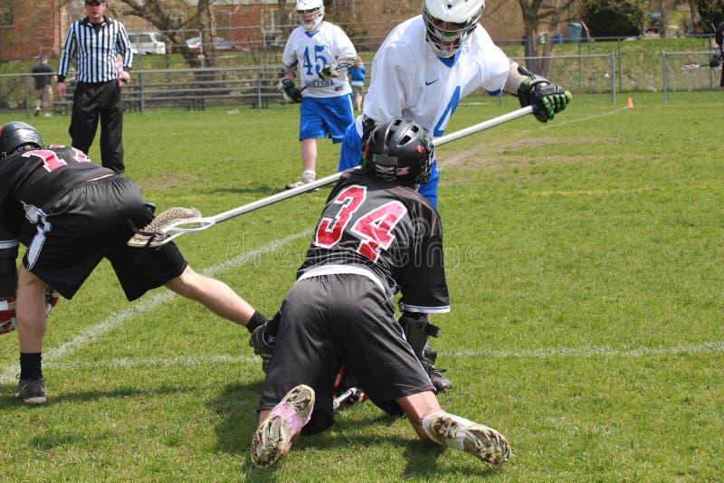 Ação do Lacrosse fotografia de stock