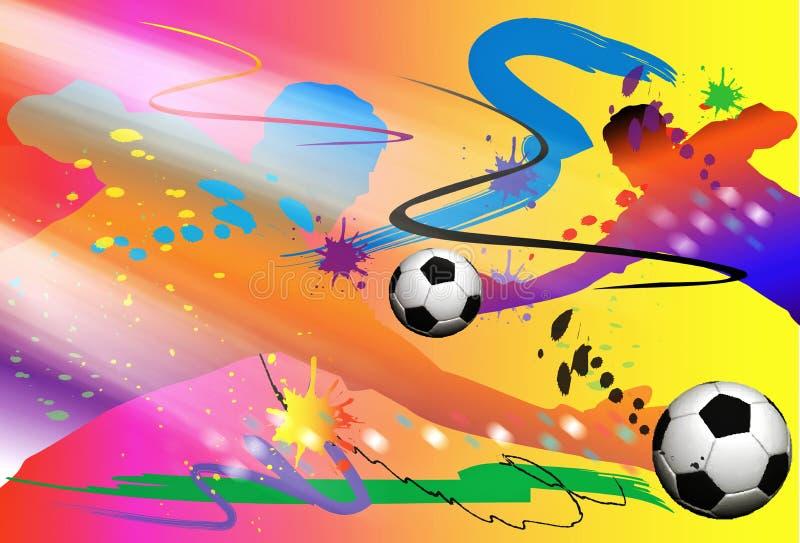 Ação e escova da arte do futebol do depositário do objetivo ilustração do vetor