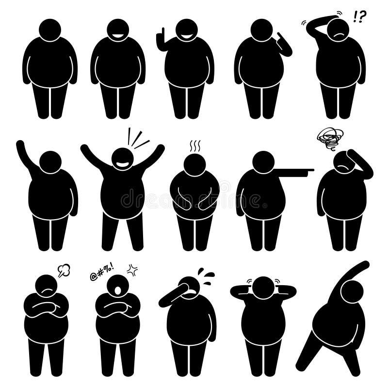 A ação gorda do homem levanta posturas Cliparts ilustração stock
