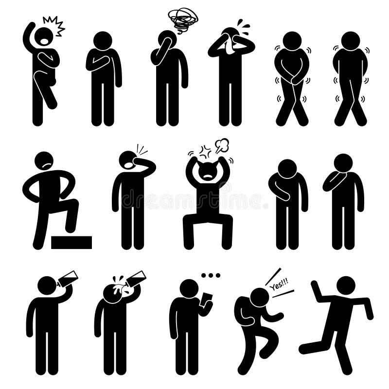 A ação humana levanta ícones das posturas ilustração do vetor