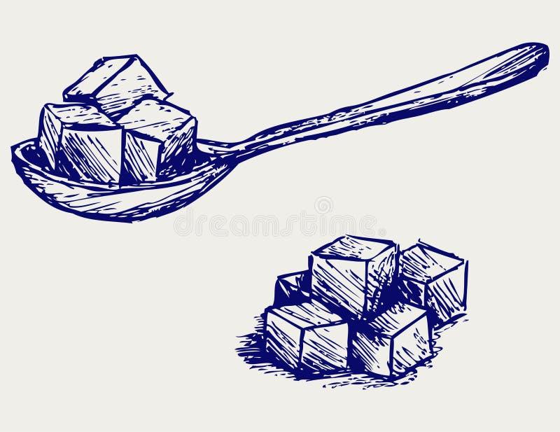 Açúcar branco refinado ilustração stock