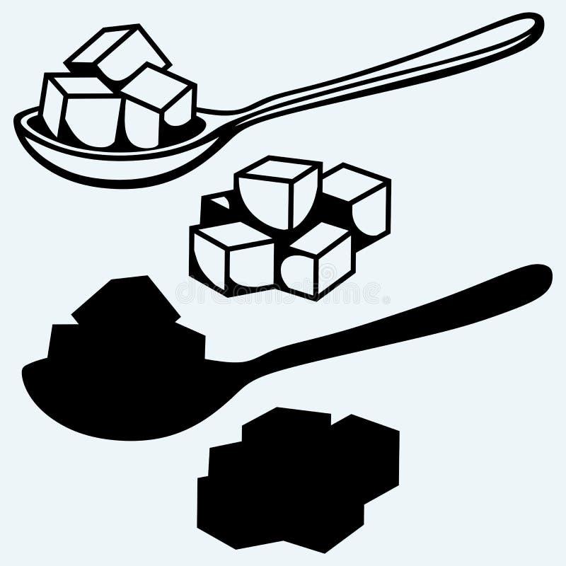 Açúcar branco refinado, colher ilustração do vetor