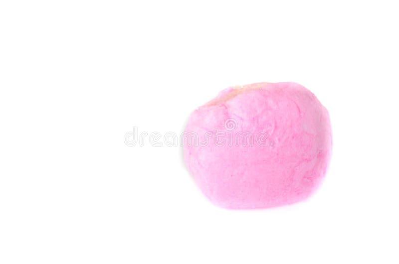 Açúcar girado rosa do close up no fundo branco imagem de stock royalty free