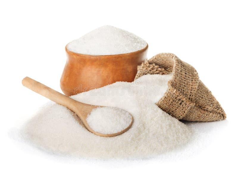 Açúcar isolado no branco fotografia de stock royalty free