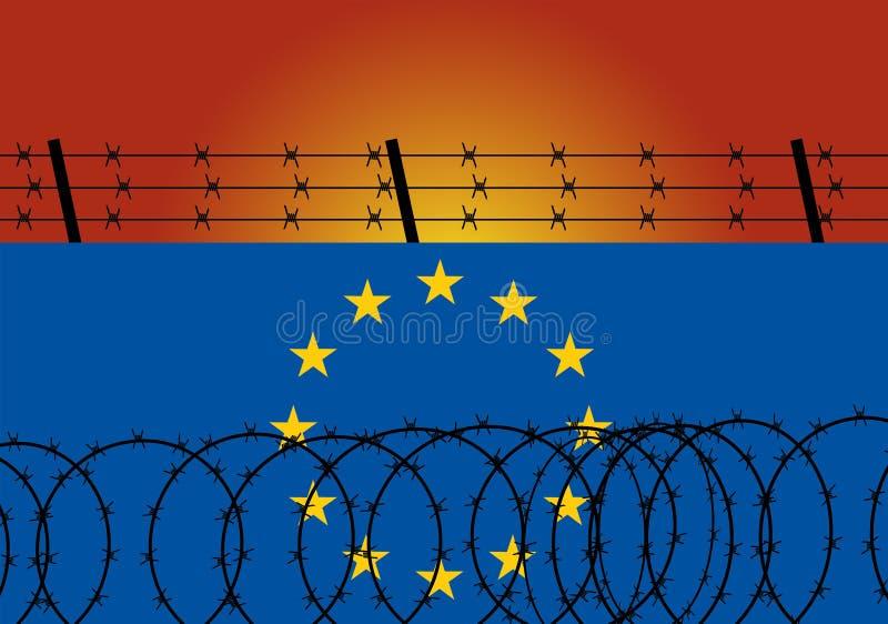 Aço do arame farpado na parede feita da bandeira da UE da União Europeia Política do controlo de fronteiras e da imigração e do r ilustração do vetor