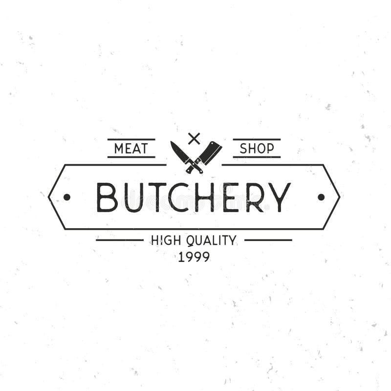 Açougue - conceito do logotipo do vintage Carniceiro Shop Logo Quadro do vintage e facas da carne Molde do logotipo da loja de ca ilustração stock