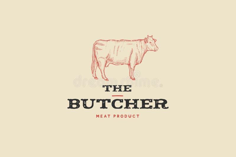 Açougue do logotipo do vintage com imagem da vaca Gravando a etiqueta com texto da amostra ilustração royalty free