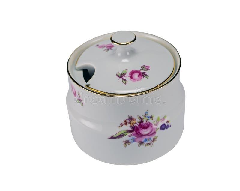Açucareiro da porcelana no branco fotografia de stock royalty free