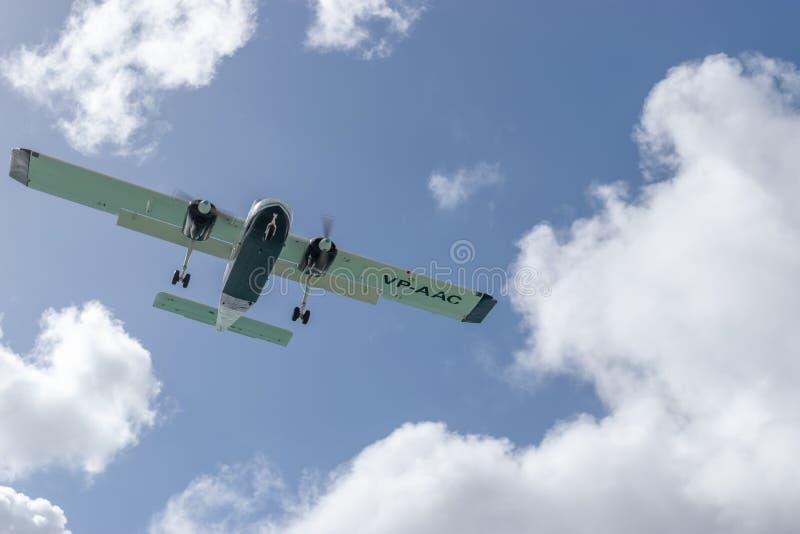 Aéronefs de servitude VP-AAC BN-2a de lumière Britten-normande d'insulaire des services aériens d'Anguilla aas image libre de droits