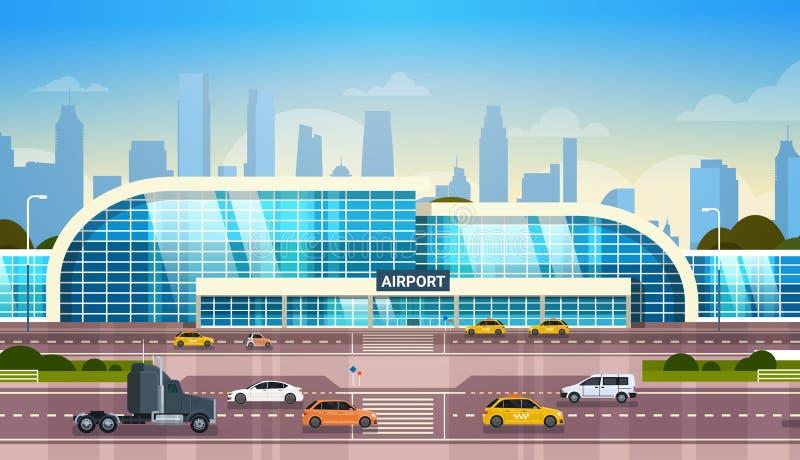 Aéroport établissant le terminal moderne extérieur avec des voitures sur la haute route de manière et des gratte-ciel sur le fond illustration de vecteur