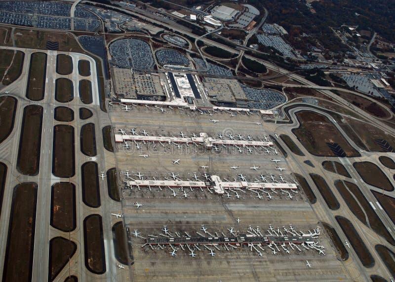 Aéroport de Hartsfield†«Jackson Atlanta International de vue aérienne photos stock