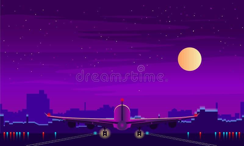 Aéroport de nuit avec le décollage de l'avion Ciel nocturne, paysage avec le bâtiment Fond de vecteur illustration de vecteur