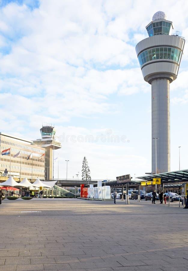 Aéroport de Schiphol à Amsterdam Pays-Bas image libre de droits