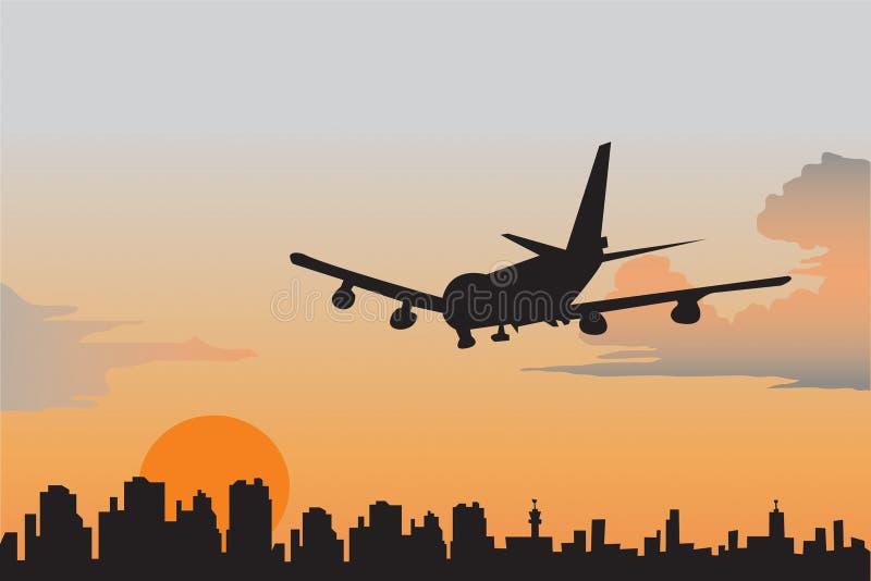 Aéroport en soirée. illustration de vecteur