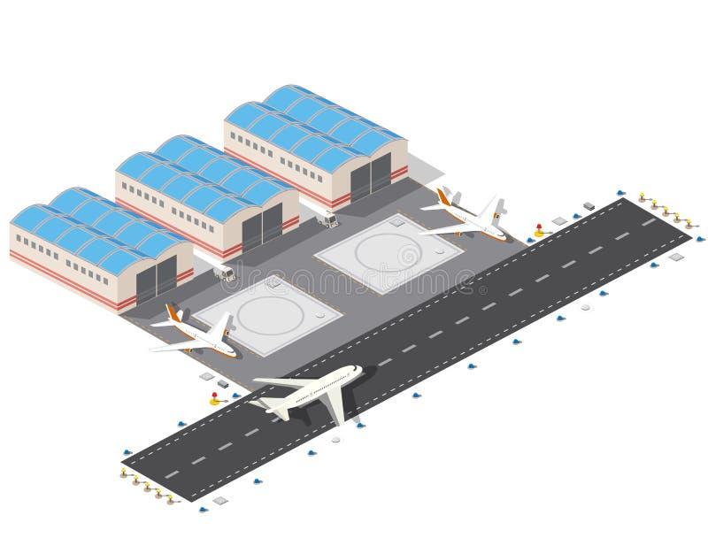 Aéroport isométrique de ville illustration libre de droits
