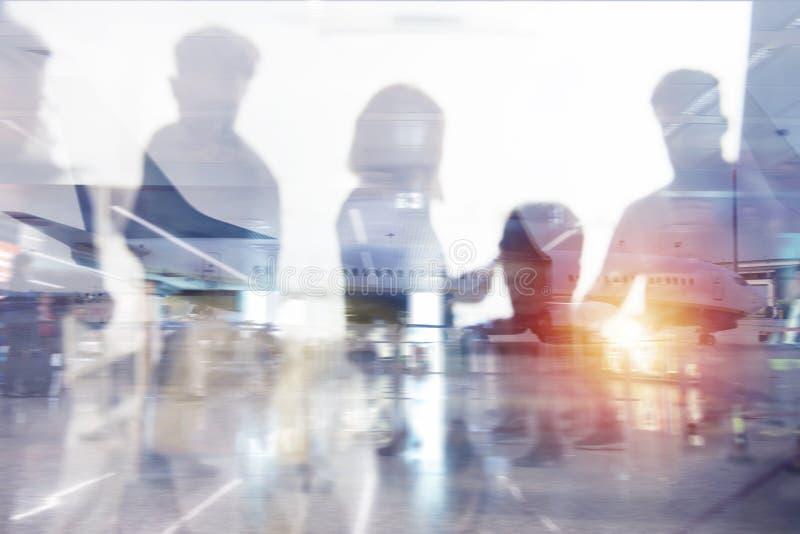 Aéroport moderne avec des effets de tache floue Double exposition image libre de droits