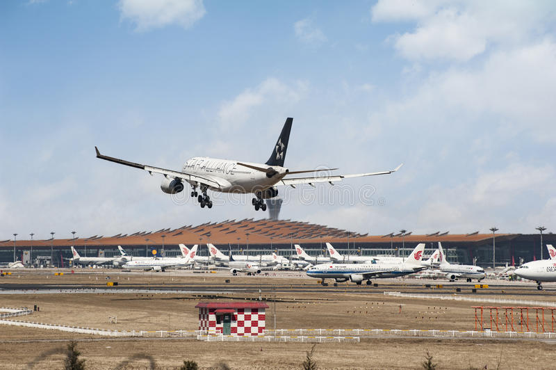 Aéroport occupé de capital de Pékin images libres de droits
