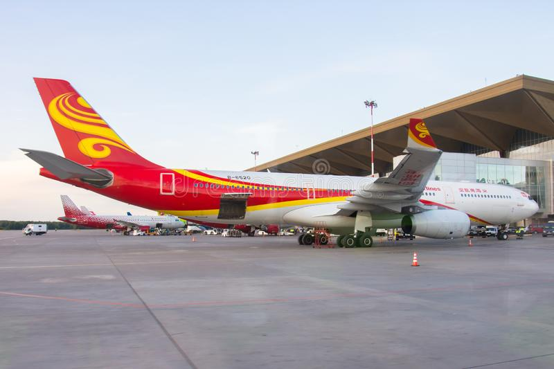 Aéroport Pulkovo, Russie St Petersburg d'Airbus a330 Hainan Airlines 15 août 2018 photo stock
