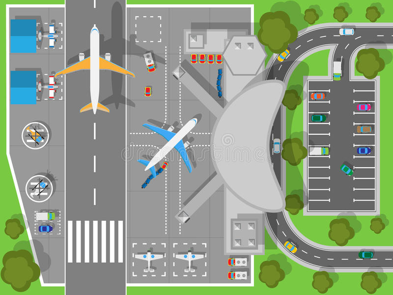 Aéroport une vue supérieure Terminal et avions illustration de vecteur
