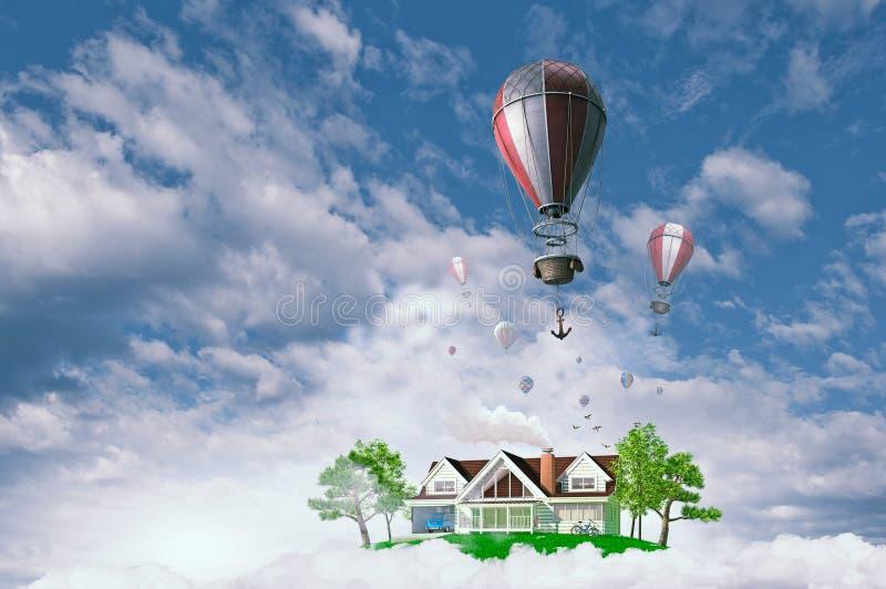 Aérostats volant au-dessus du ciel Media mélangé image stock