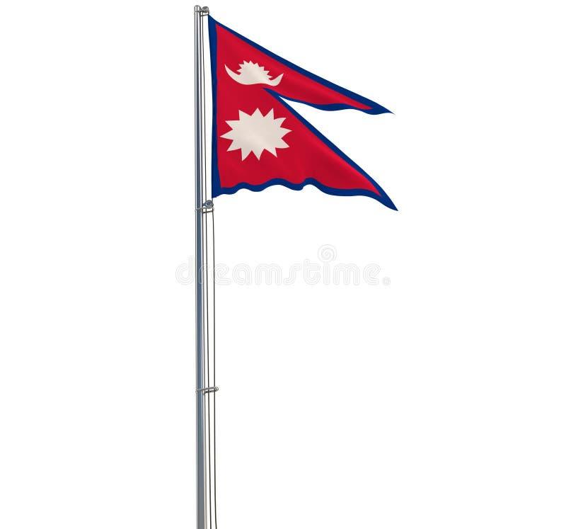 Aísle el paño de Nepal en una asta de bandera que agita en el viento en un fondo transparente, representación 3d ilustración del vector