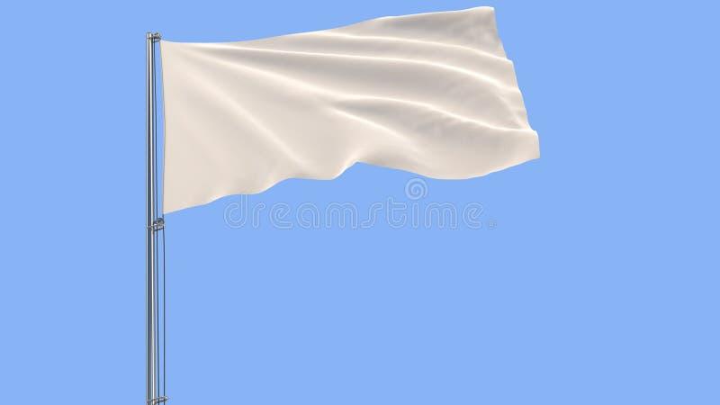 Aísle la bandera blanca en una asta de bandera que agita en el viento en un fondo azul, representación 3d ilustración del vector