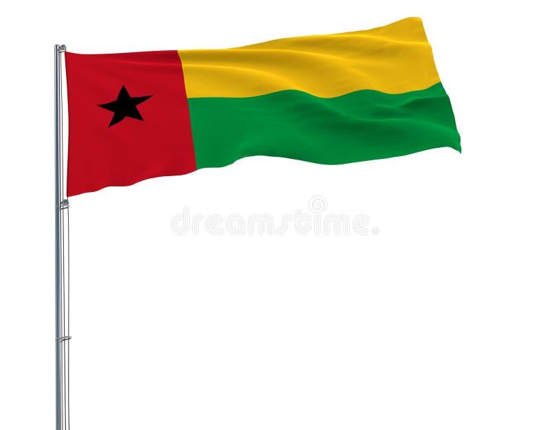 Aísle la bandera civil de Guinea-Bissau en una asta de bandera que agita en el viento en un fondo blanco, representación 3d libre illustration