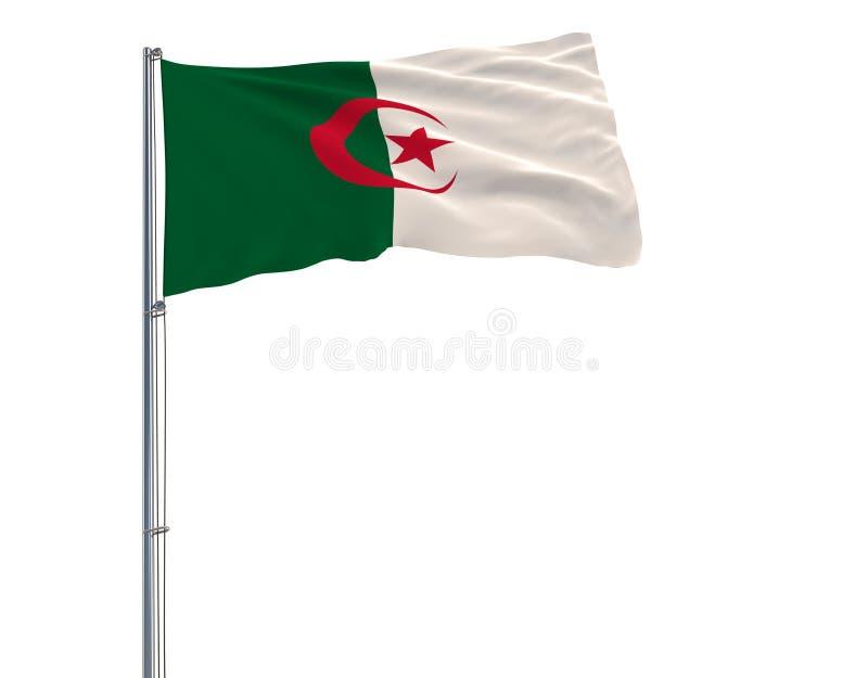 Aísle la bandera de Argelia en una asta de bandera que agita en el viento en un fondo blanco, representación 3d ilustración del vector