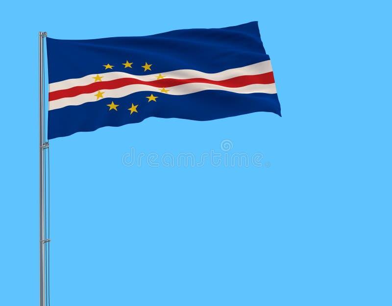Aísle la bandera de Cabo Verde en una asta de bandera que agita en el viento en un fondo del cielo azul, representación 3d libre illustration