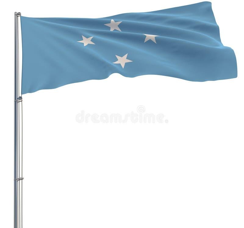 Aísle la bandera de Federated States of Micronesia, en una asta de bandera que agita en el viento en un fondo blanco, la represen ilustración del vector