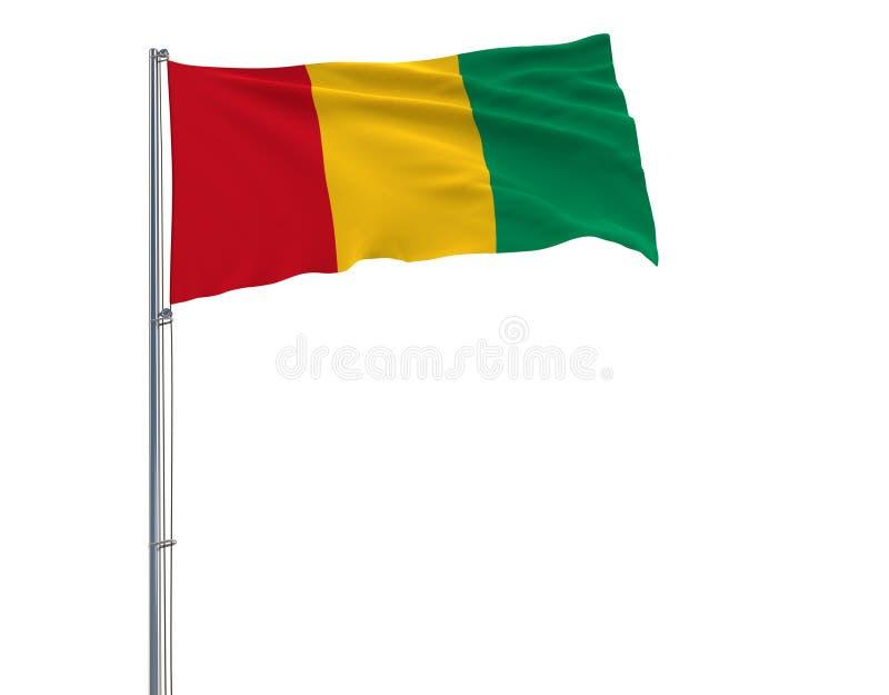 Aísle la bandera de Guinea en una asta de bandera que agita en el viento en un fondo blanco, representación 3d ilustración del vector