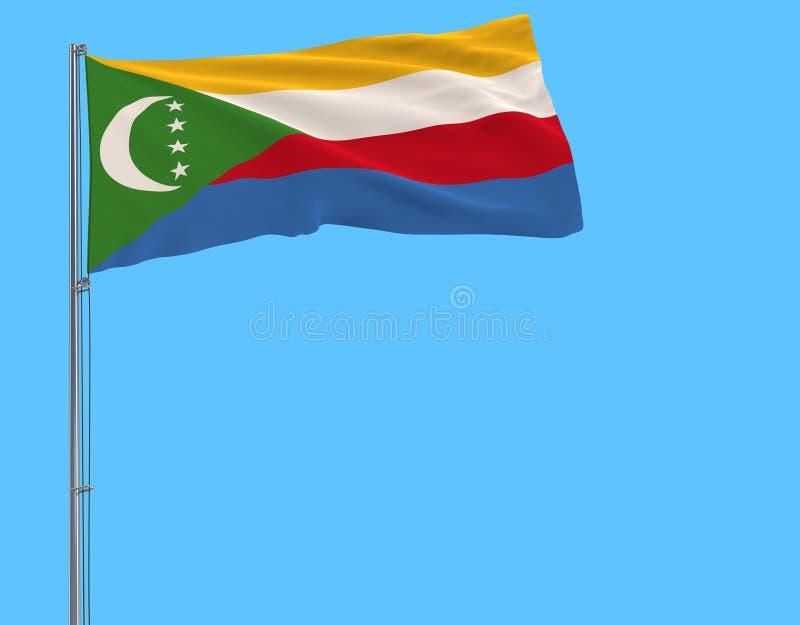 Aísle la bandera de los Comoro en una asta de bandera que agita en el viento en un fondo azul, representación 3d ilustración del vector