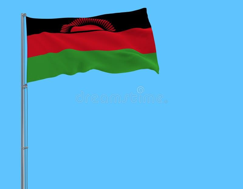Aísle la bandera de Malawi en una asta de bandera que agita en el viento en un fondo azul, representación 3d ilustración del vector
