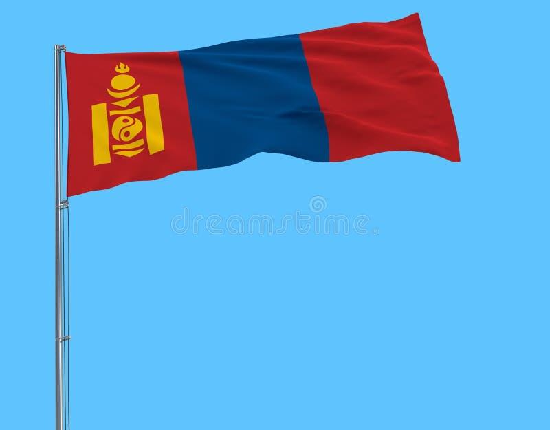 Aísle la bandera de Mongolia en una asta de bandera que agita en el viento en un fondo azul, representación 3d stock de ilustración