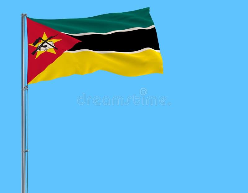 Aísle la bandera de Mozambique en una asta de bandera que agita en el viento en un fondo azul, representación 3d stock de ilustración