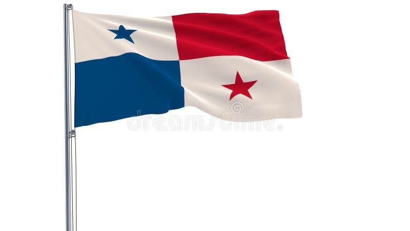 Aísle la bandera de Panamá en una asta de bandera que agita en el viento en un fondo blanco, representación 3d stock de ilustración