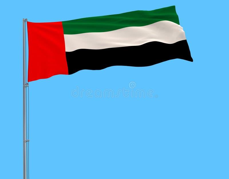 Aísle la bandera de United Arab Emirates en una asta de bandera que agita en el viento en un fondo azul ilustración del vector