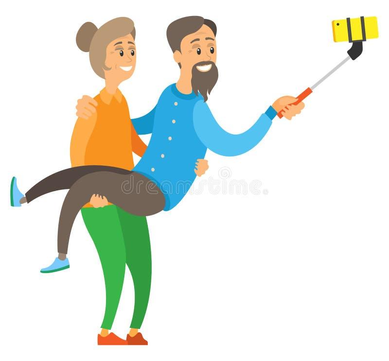 Aîné de participation de dame âgée, faisant le vecteur de Selfie illustration stock