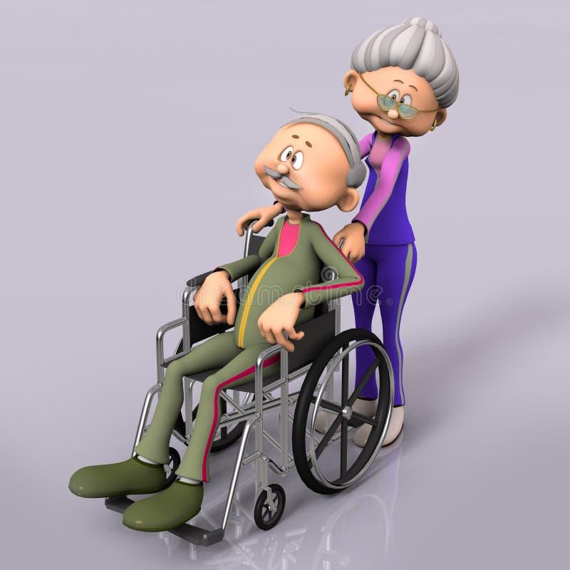 Aîné de vieil homme dans le fauteuil roulant illustration de vecteur