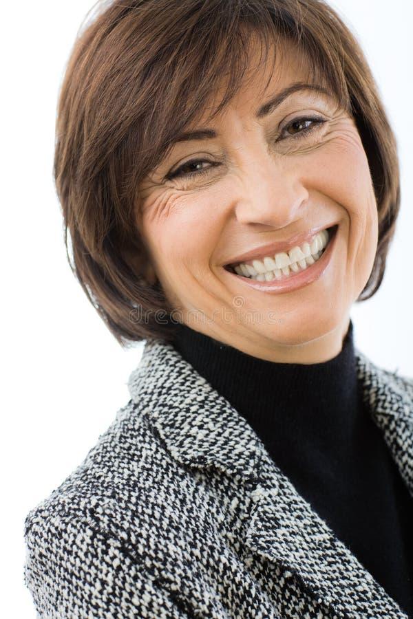 aîné heureux de femme d'affaires image libre de droits