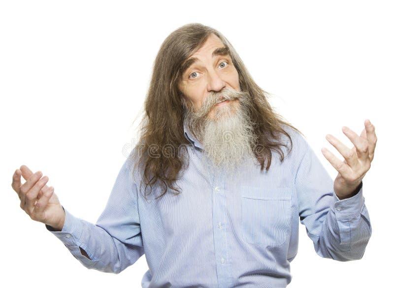 Aîné montrant en main La publicité de vieil homme quelque chose, aîné image libre de droits