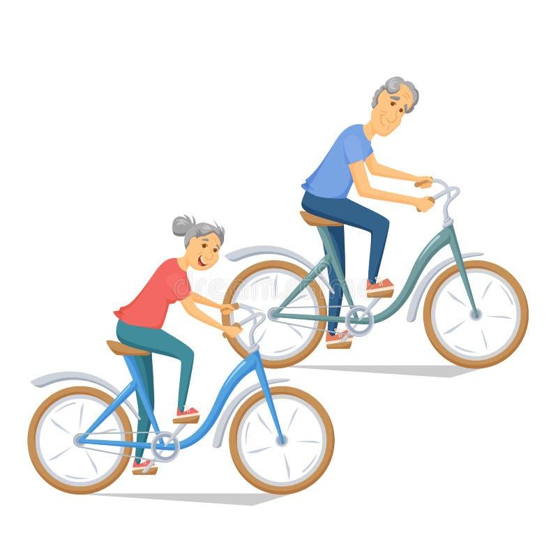 Aînés allant à vélo ensemble illustration de vecteur
