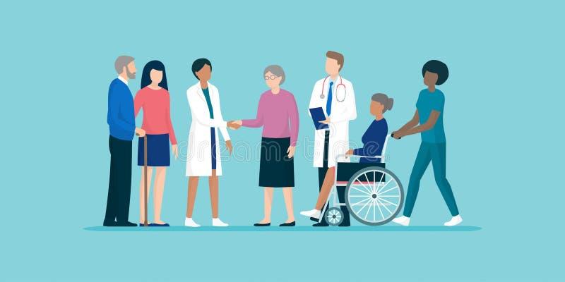 Aînés avec l'équipe de travailleurs sociaux et de médecins professionnels illustration libre de droits