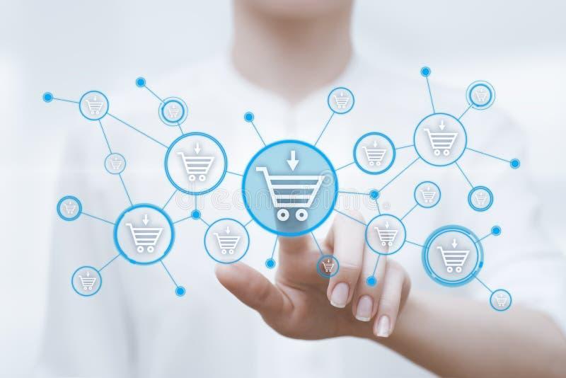 Añada al concepto en línea del comercio electrónico de la compra de la tienda del web de Internet del carro fotos de archivo