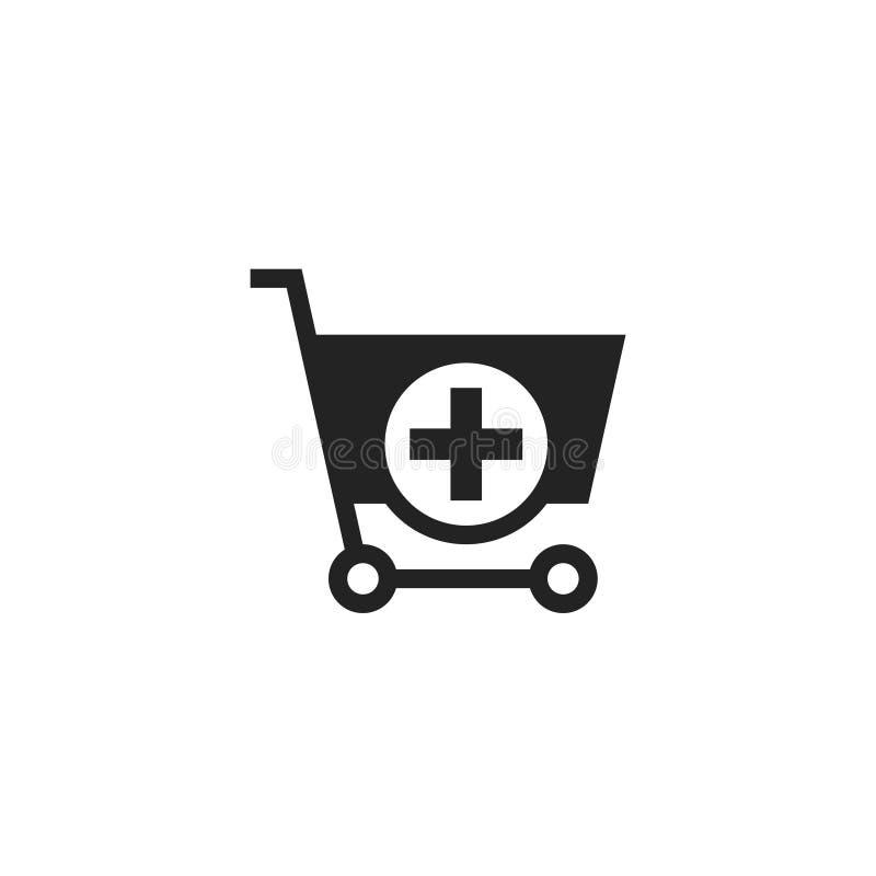 A?ada al icono, al s?mbolo o al logotipo del vector del Glyph del carro de la compra libre illustration
