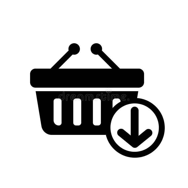 Añada al vector del icono de la cesta ilustración del vector