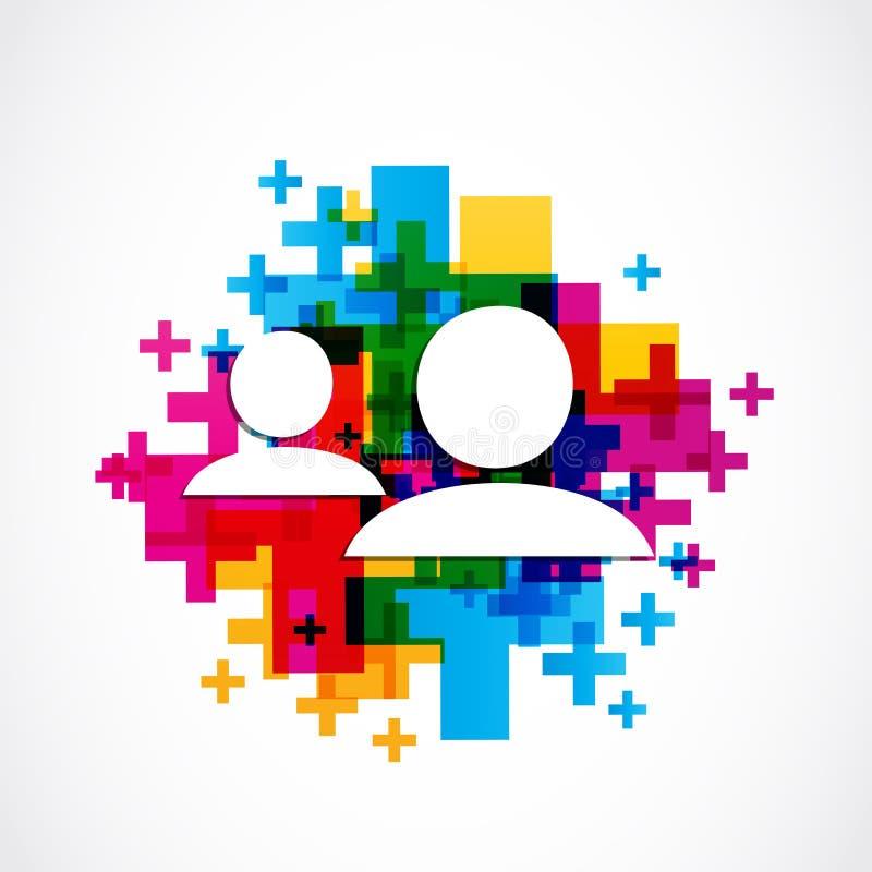 Añada concepto social del amigo el medios stock de ilustración